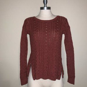 American Eagle Side Zip Cable Knit Sweater Sienna